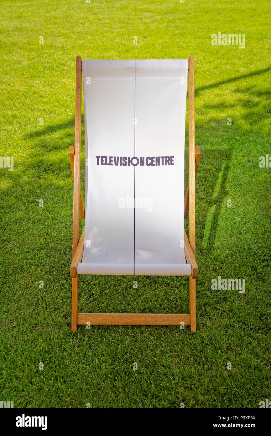 Deck Chair at Television Centre in Shepherd's Bush formerly the home of BBC Television since 1959 is now a housing and leisure development. - Stock Image