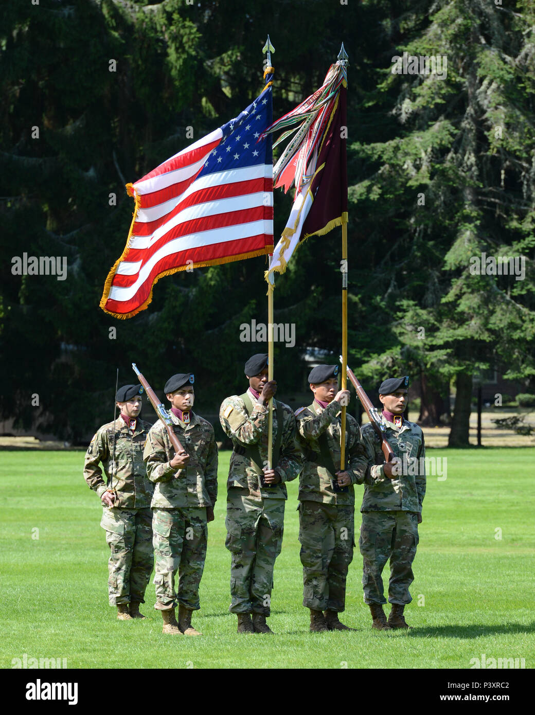 62nd Medical Brigade Color Guard stands at attention during the Change of Command Ceremony. - Stock Image