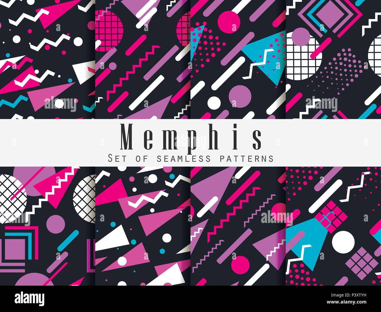 Memphis seamless pattern. Geometric elements memphis in the style of 80's. Vector illustration. Stock Vector