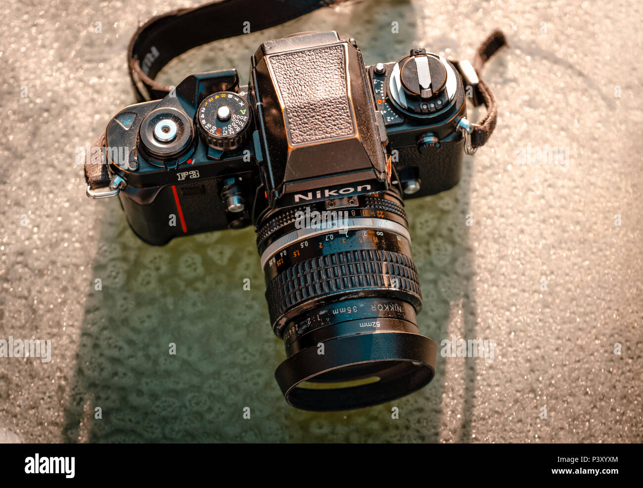 Nikon F3 single lens reflex 35mm professional film camera, First launched in 1980 and remained in production until 2001 - Stock Image