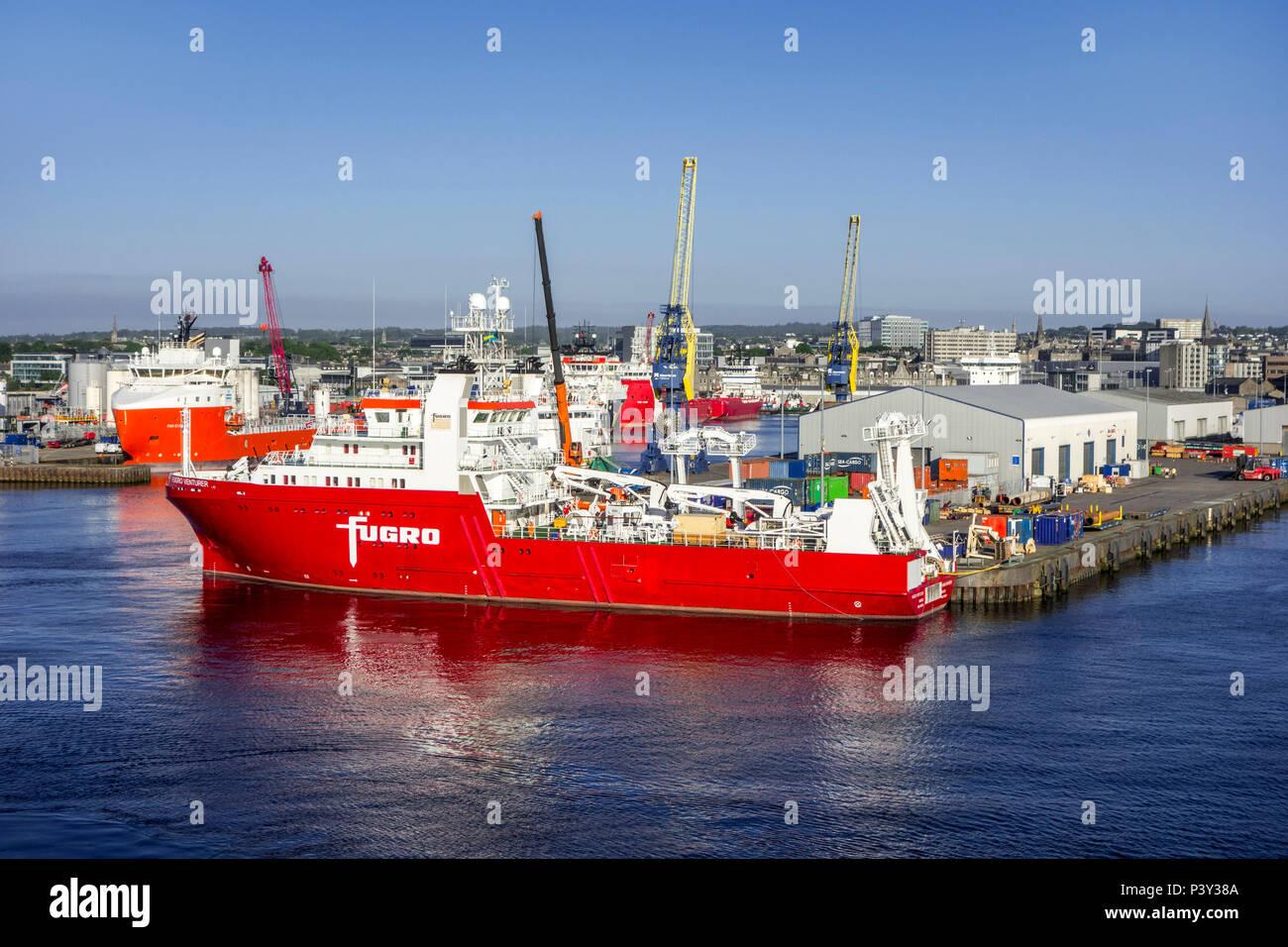 Fugro Venturer, geophysical & hydrographic survey vessel docked in the Aberdeen port, Aberdeenshire, Scotland, UK - Stock Image