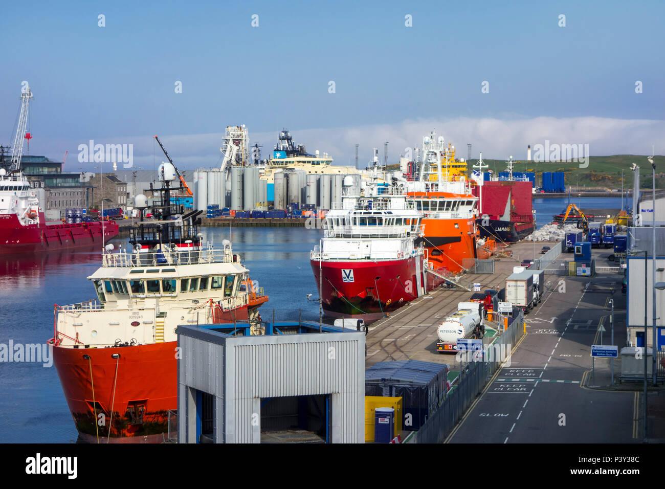 Vessels docked in the Aberdeen port / harbour, Aberdeenshire, Scotland, UK - Stock Image