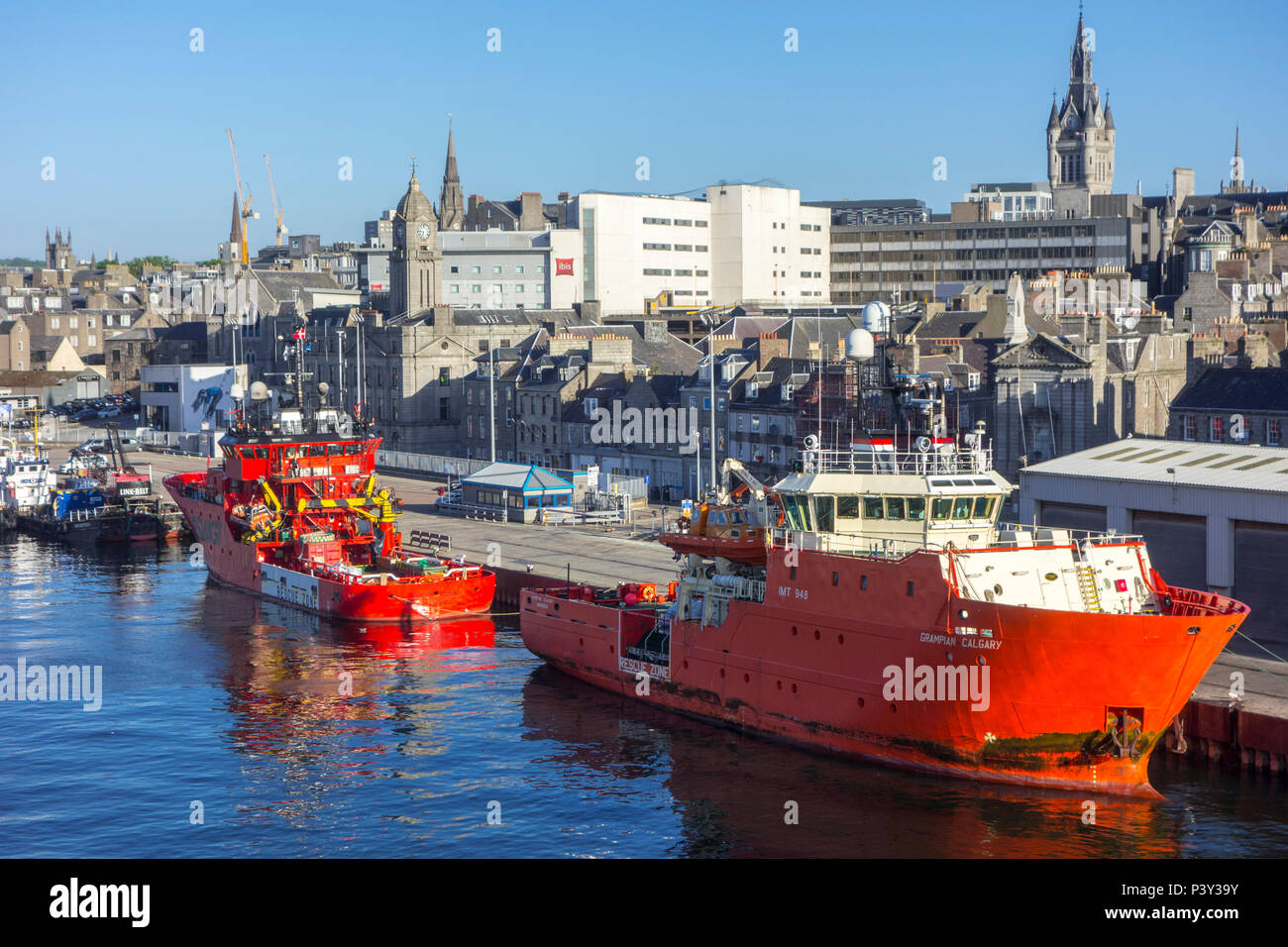 Grampian Calgary, Standby Safety Vessel docked in the Aberdeen port, Aberdeenshire, Scotland, UK - Stock Image