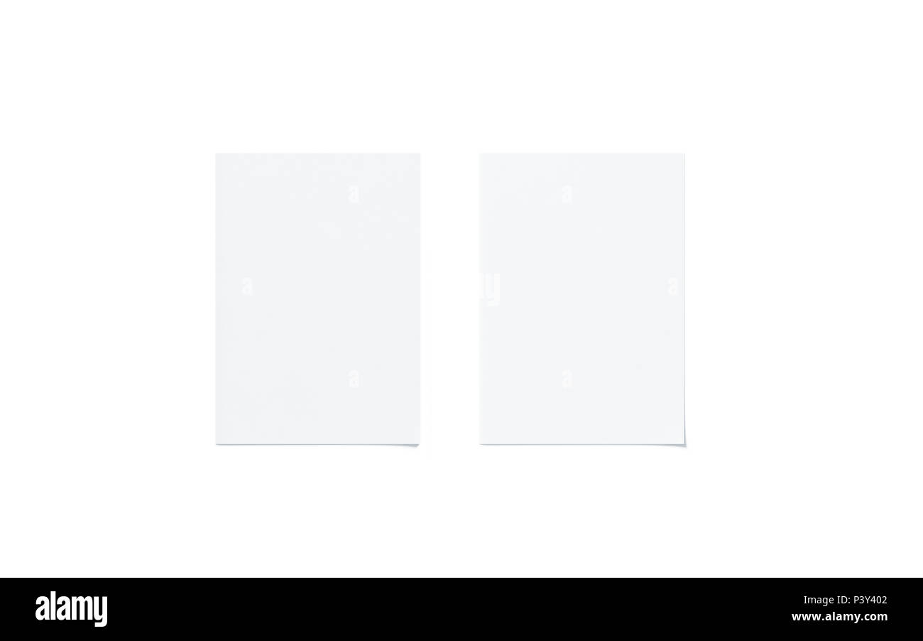Blank white a5 flyer mock up set, top view, isolated, 3d rendering. Two clear brochures mockup. Clear flier paper sheet template. Clean promotional booklets - Stock Image