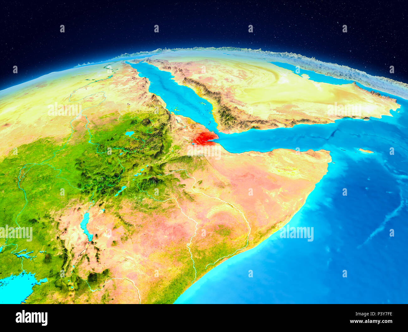 Satellite view of Djibouti highlighted in red on planet ... on topo map of djibouti, political map of djibouti, sports of djibouti, detailed map of djibouti, terrain map of djibouti, outline map of djibouti, blank map of djibouti, world map of djibouti, street map of djibouti, physical map of djibouti, topographical map of djibouti,