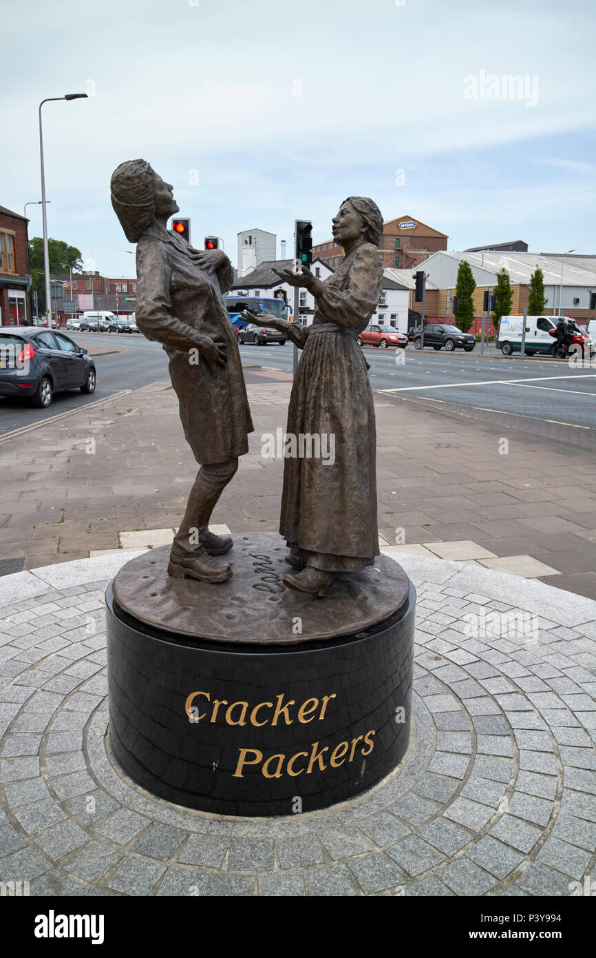 Cracker packers statue outside united biscuits carrs biscuit factory now mcvities in paddys market Carlisle Cumbria England UK - Stock Image