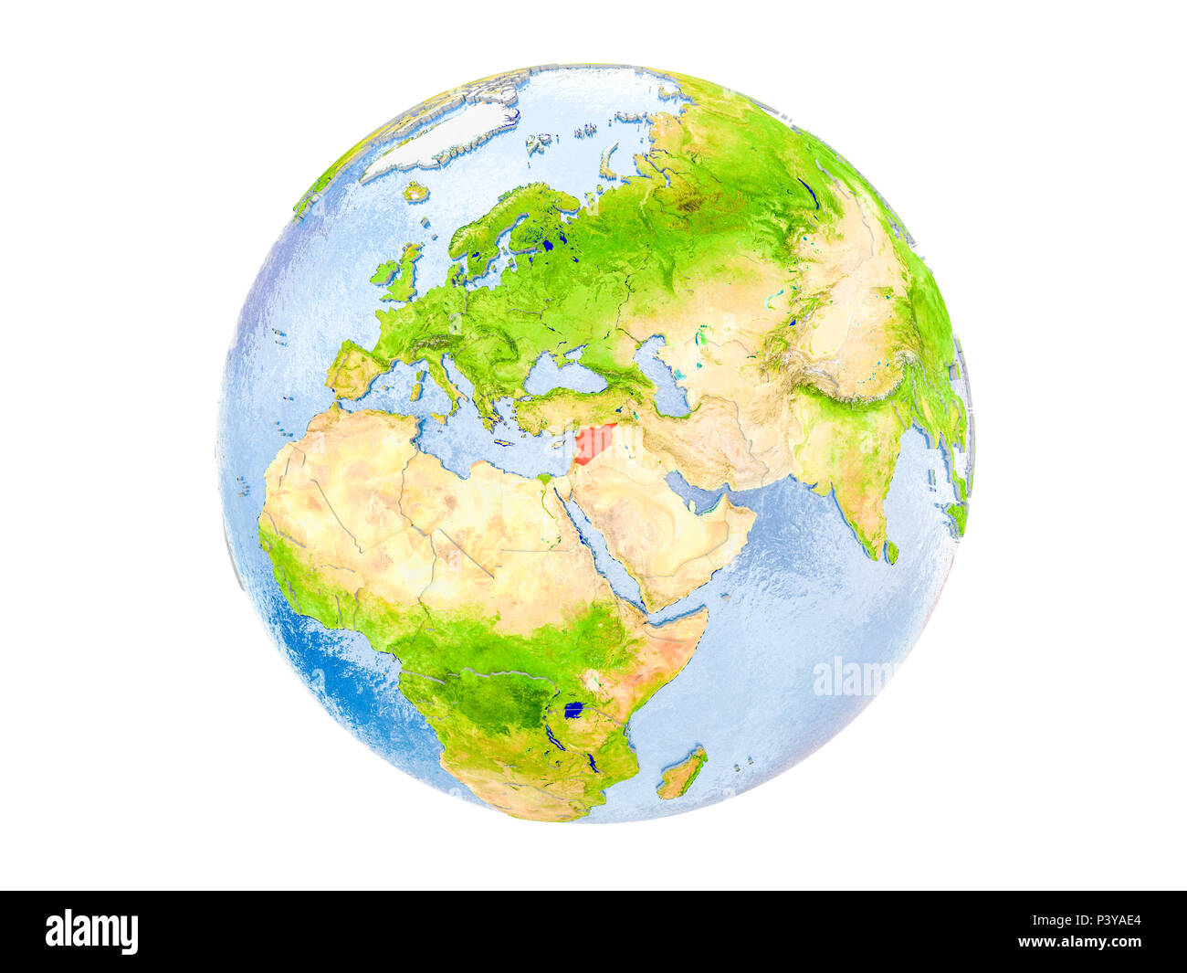 Syria highlighted in red on model of Earth. 3D illustration isolated on white background. Elements of this image furnished by NASA. - Stock Image
