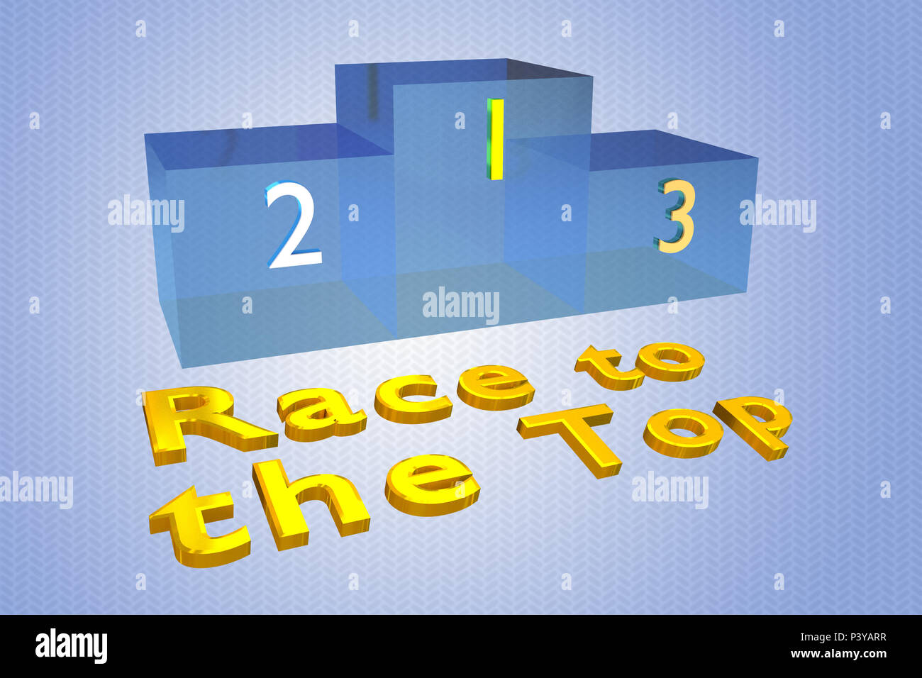 3D illustration of Race to the Top title with a podium as a background - Stock Image