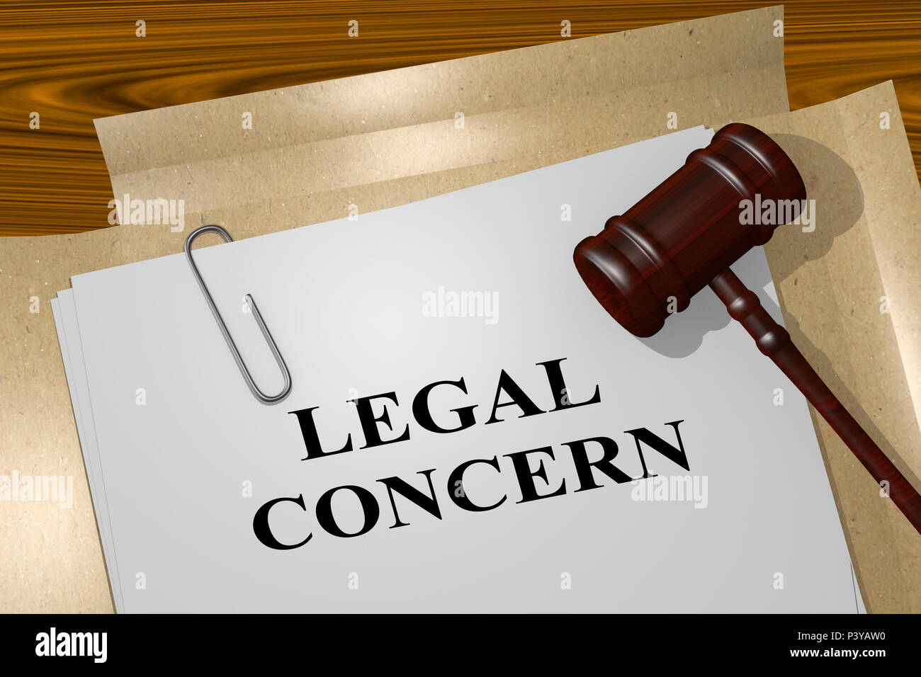 3D illustration of LEGAL CONCERN title on legal document - Stock Image