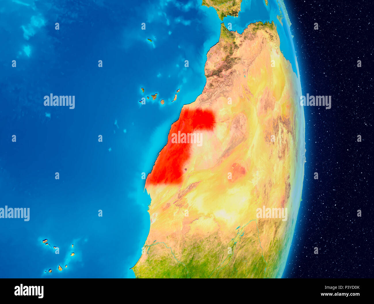 Country of Western Sahara in red on planet Earth. 3D illustration. Elements of this image furnished by NASA. - Stock Image