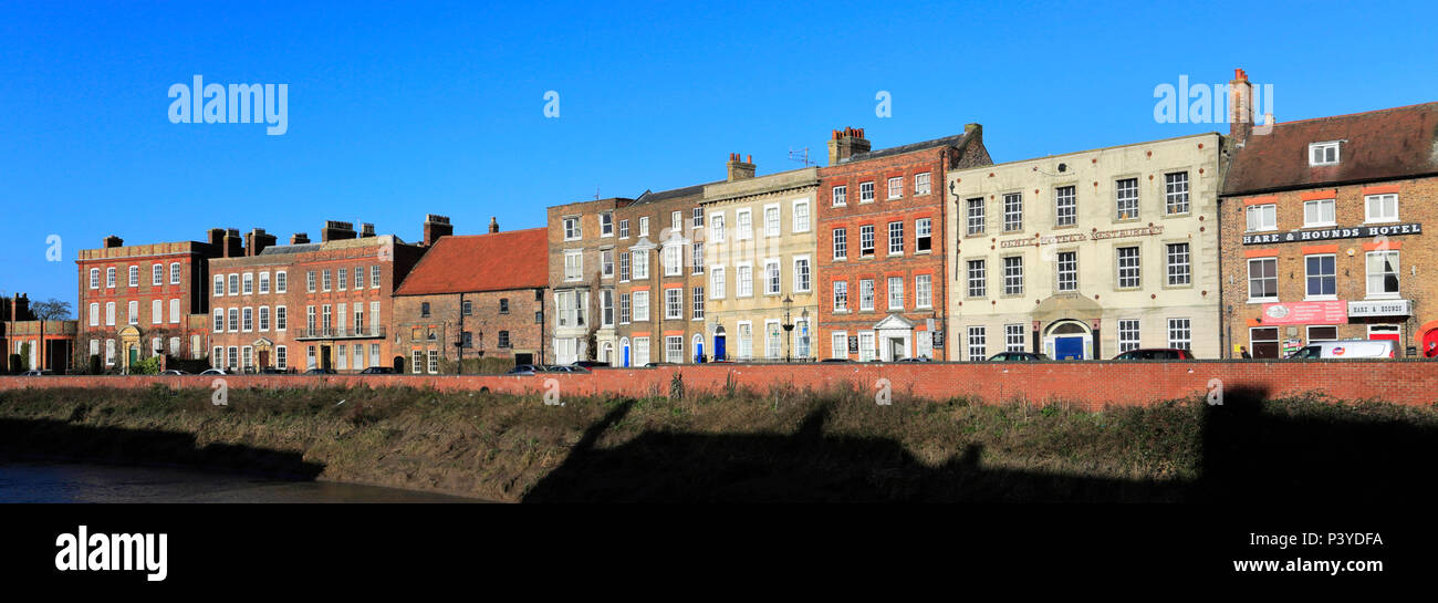 The North Brink architecture, river Nene, Wisbech town, Cambridgeshire, England; UK - Stock Image