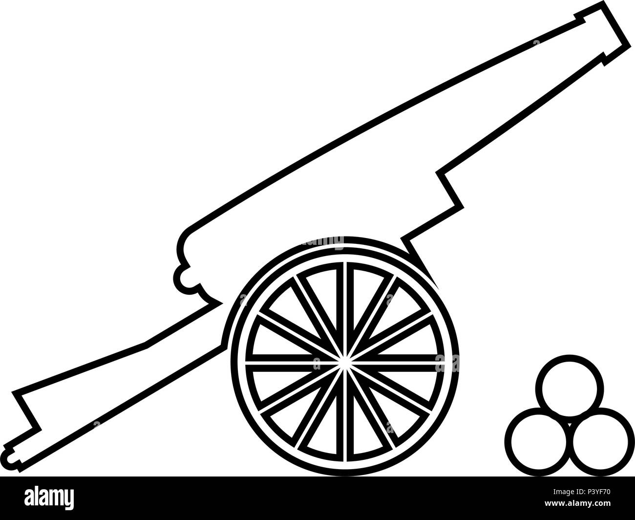 Medieval cannon firing cores icon black color vector I flat style simple image - Stock Image