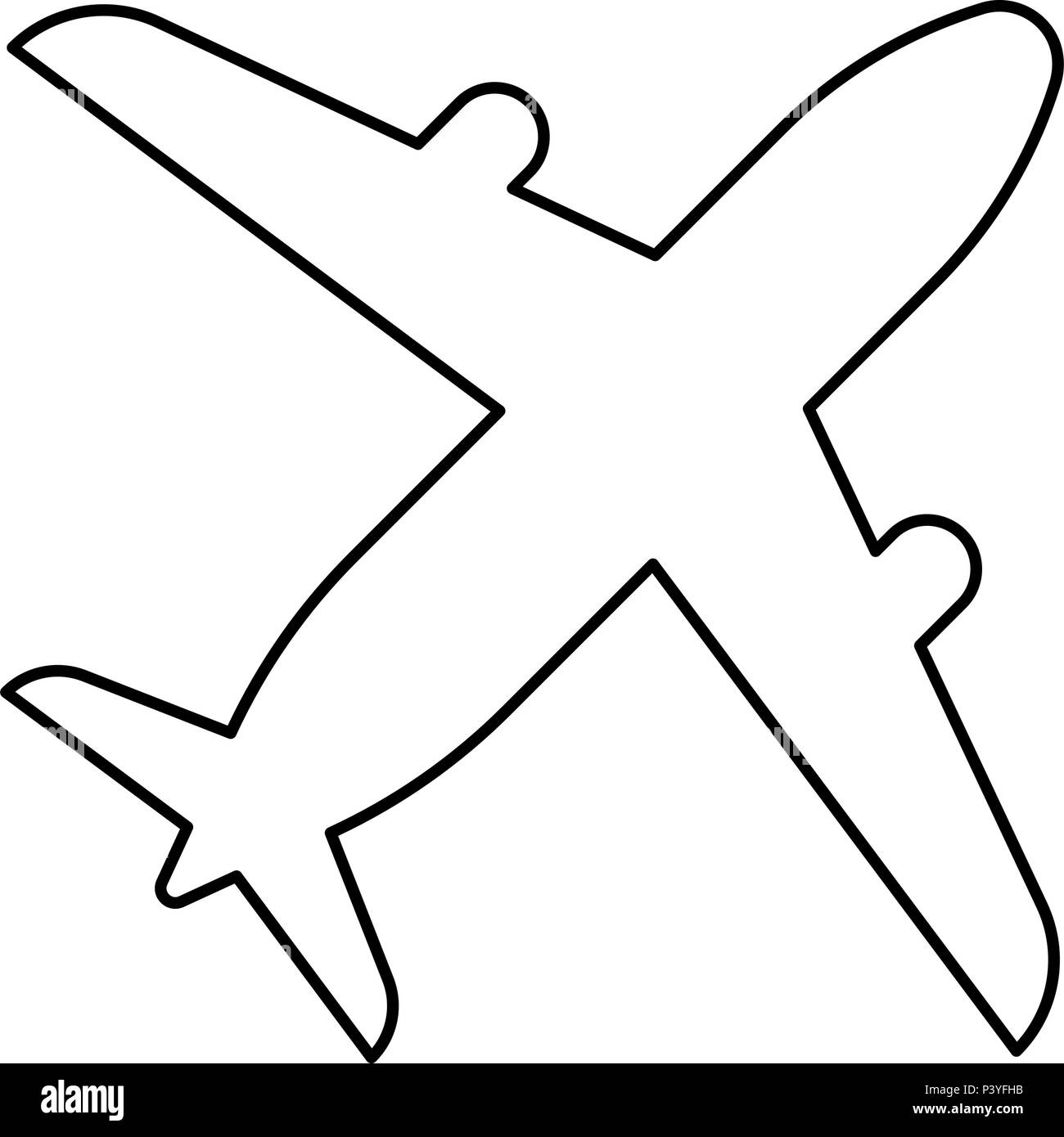 Airplane icon black color vector I flat style simple image - Stock Image