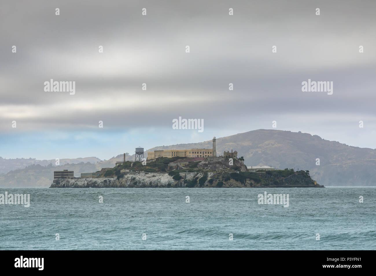 Views of Alcatraz Island from San Francisco. - Stock Image