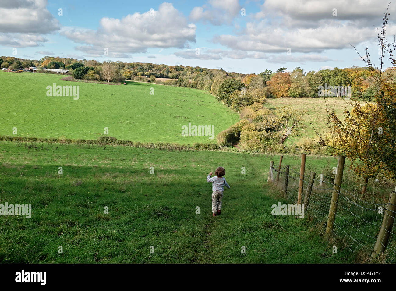 Reading, Berkshire, Chiltern hills. Young child playing in English countryside. - Stock Image