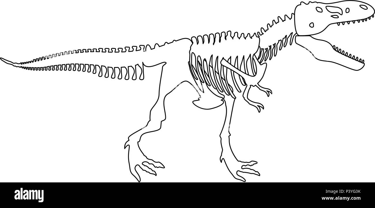 Dinosaur Skeleton T Rex Icon Black Color Vector I Flat Style