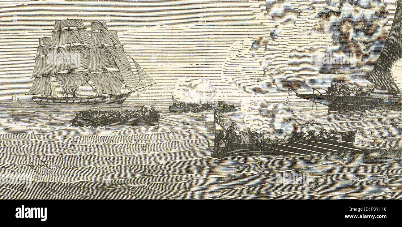 North Channel Naval Duel, between USS Ranger and HMS Drake, 24 April 1778, during the American War of Independence - Stock Image
