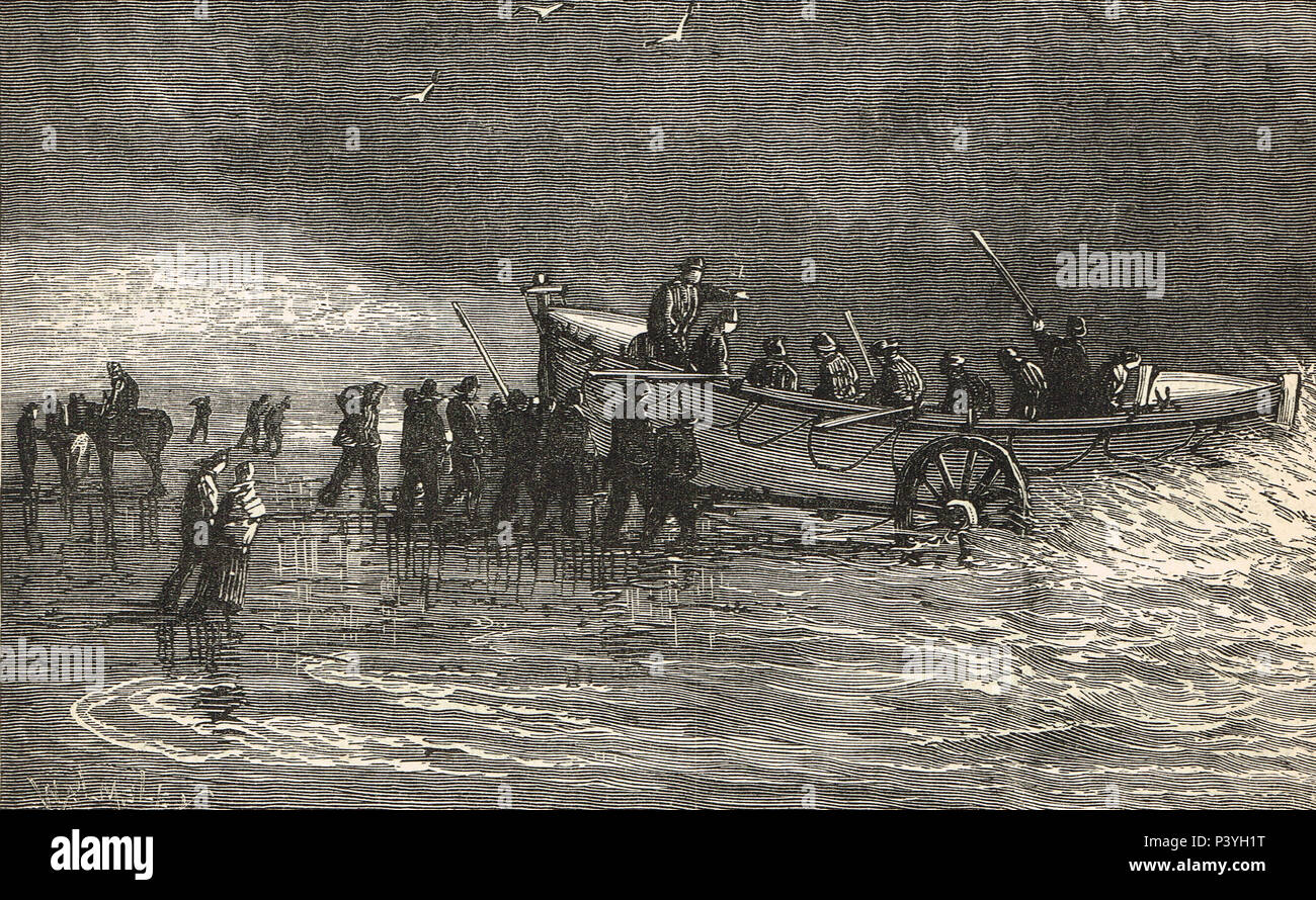 Pushing off he Lifeboat, 19th Century illustration - Stock Image