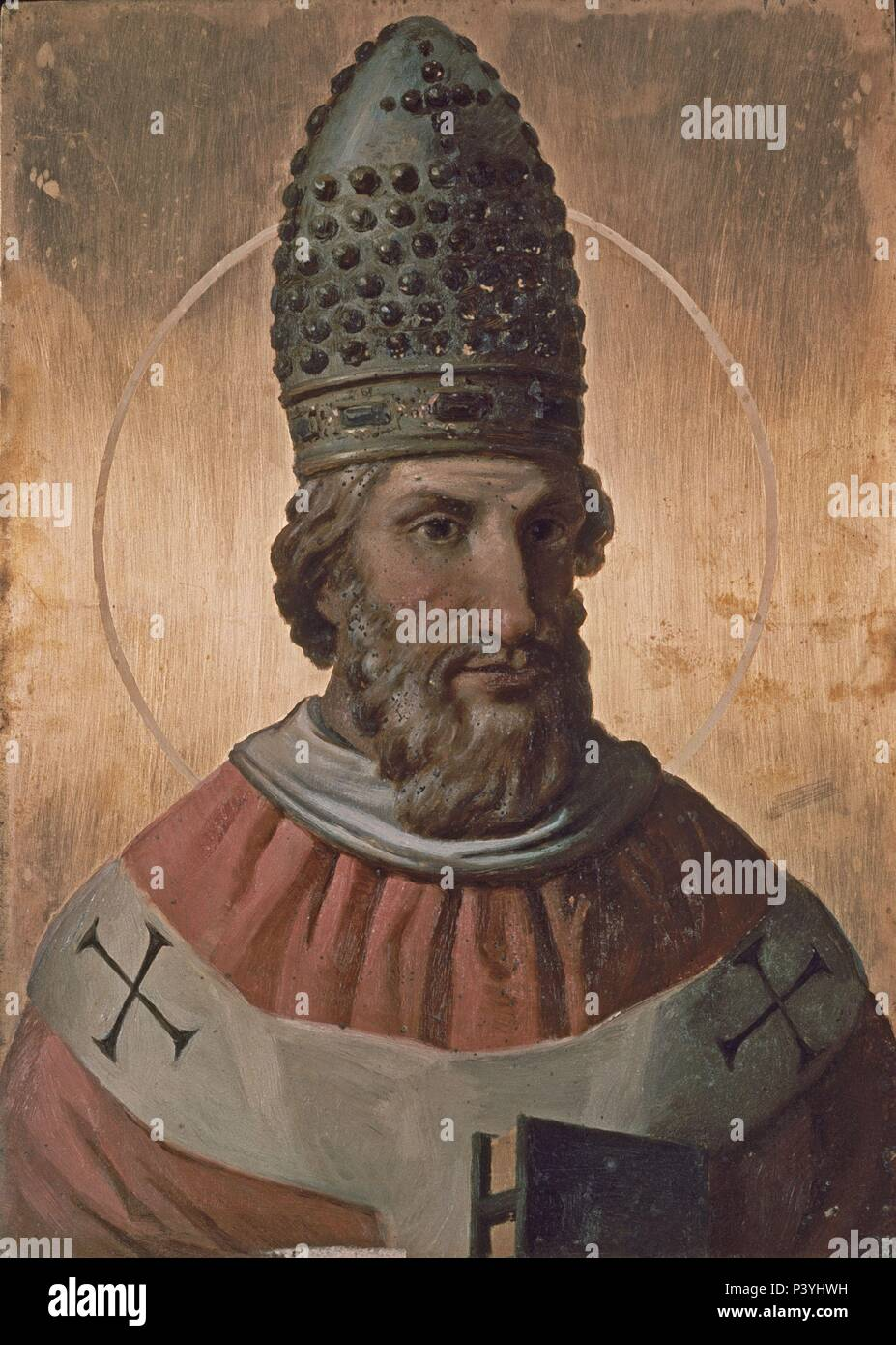 Gregory VII (san Gregorio VII), pope from 1073 to 1085. Copperplate painting. Cathedral of Salermo, Italy. Location: CATEDRAL, SALERNO, ITALIA. - Stock Image