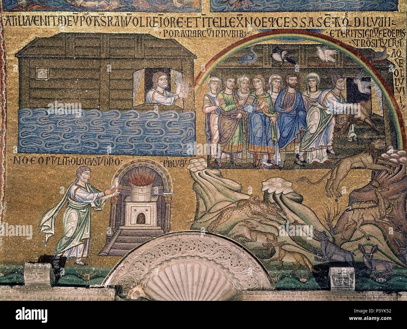 MOSAICO DEL SIGLO XIII DESEMBARCO DEL ARCA DE NOE. Location ...