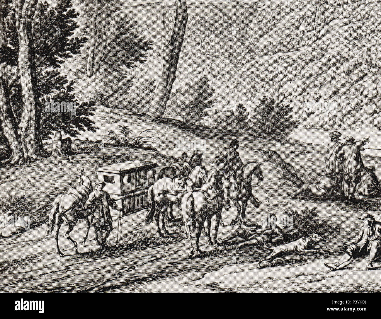 A rest by the roadside, horse litter of the 17th century - Stock Image