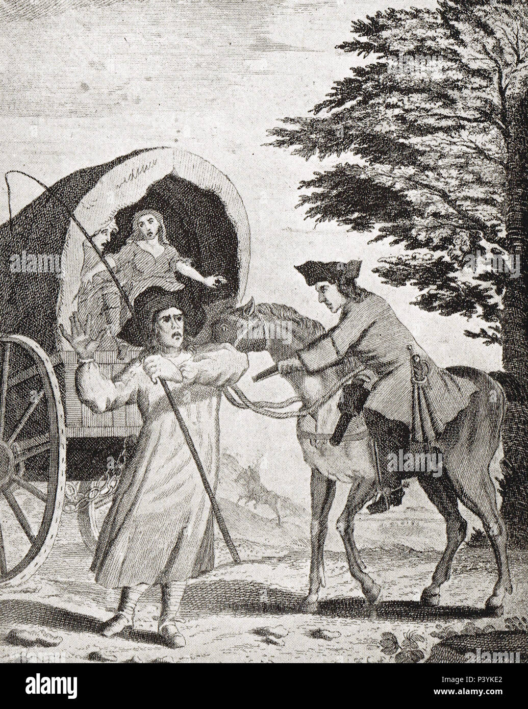 Highwayman John Cottington, robbing the Oxford Wagon, alias Mull Sack or Mulled Sack, named after his favourite drink - Stock Image