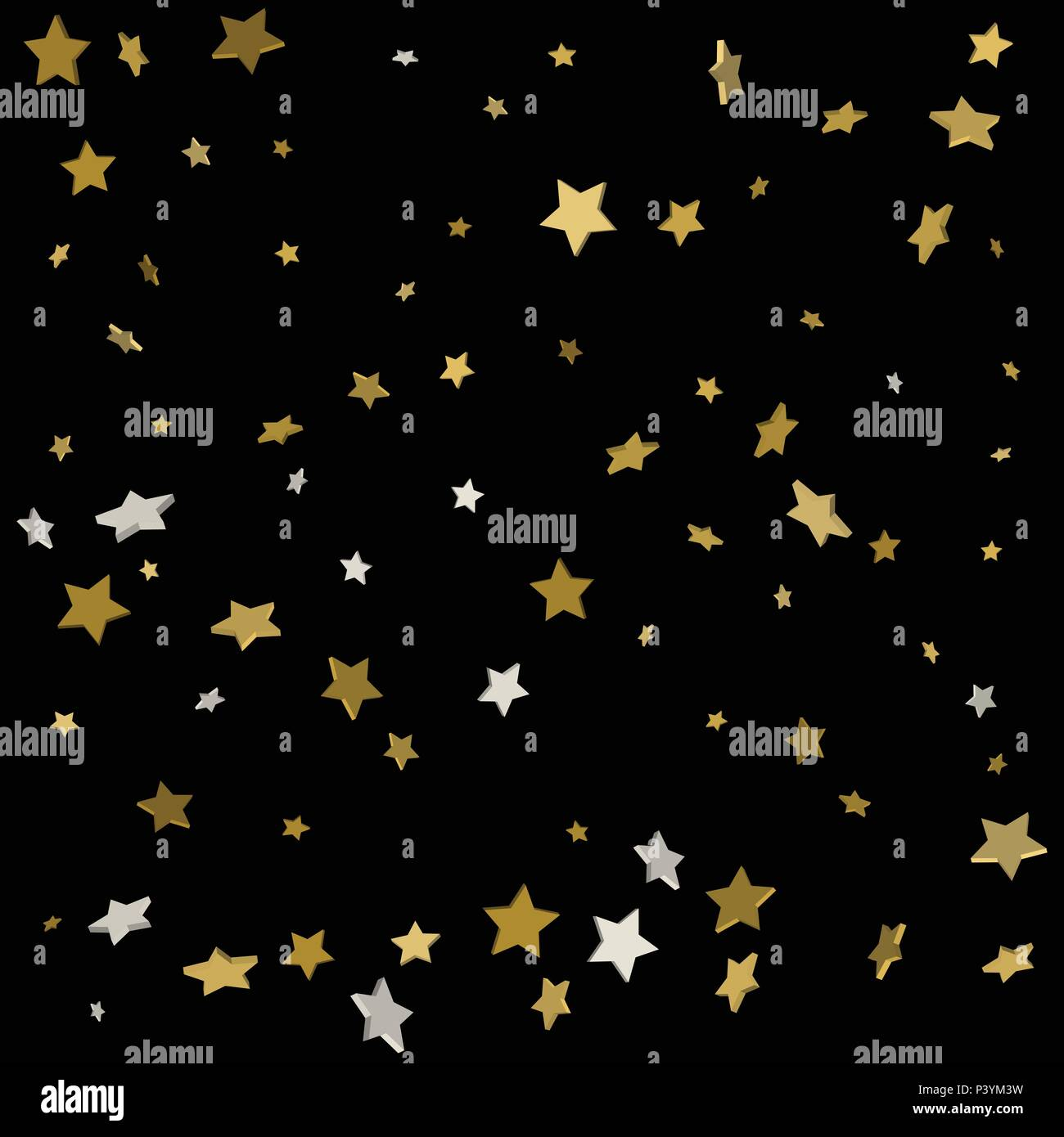 abstract pattern of random falling gold stars on black background glitter pattern for banner greeting card christmas and new year card invitation