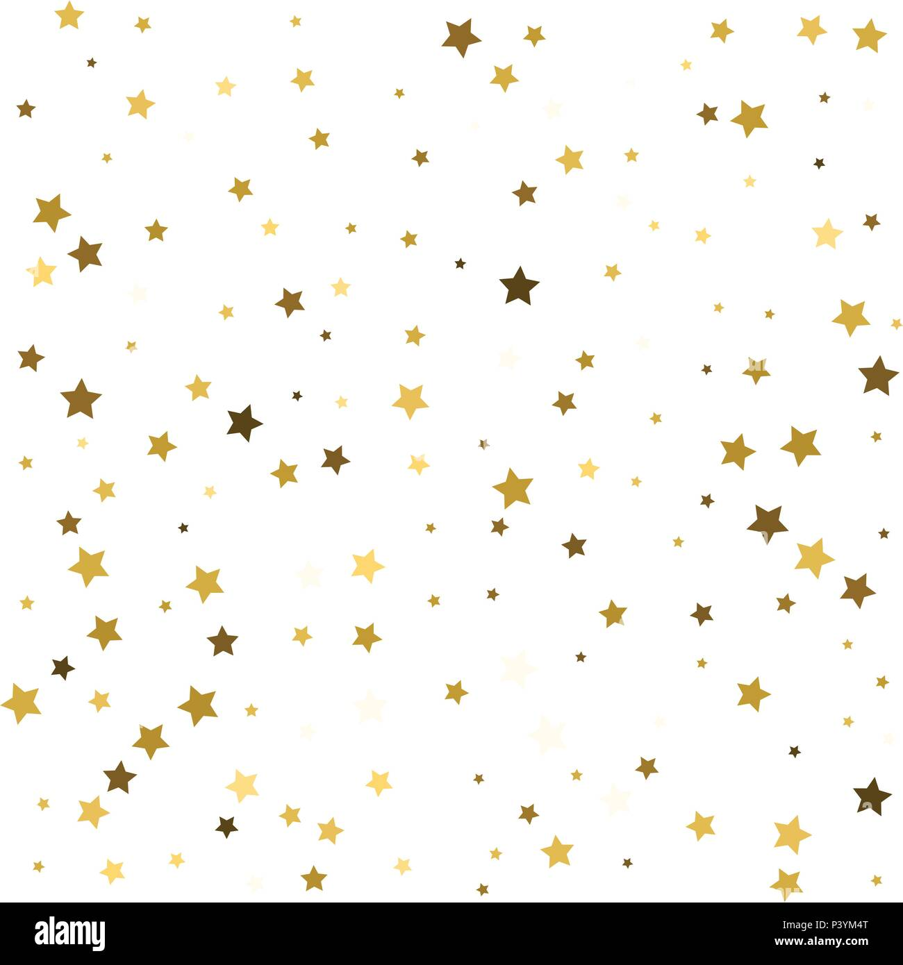 abstract pattern of random falling gold stars on white background glitter template for banner greeting card christmas and new year card invitation