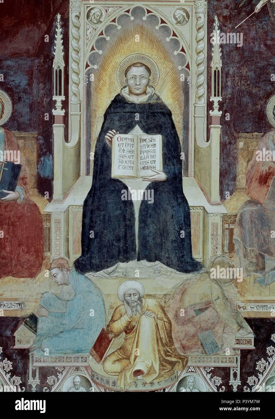 CAPILLA DE LOS ESPAÑOLES - EL TRIUNFO DE SANTO TOMAS DE AQUINO - FRESCO DEL SIGLO XIV. Author: Andrea di Bonaiuto (1343-1377). Location: BASILICA DE SANTA MARIA NOVELLA, FLORENZ, ITALIA. - Stock Image