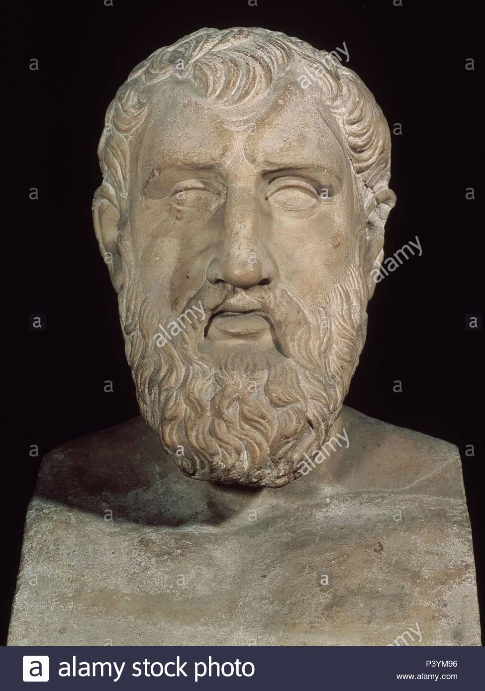 Bust of Zeno of Citium (335-264 BC), Greek philosopher and founder of stoicism.. Rome, museum of the Capitole. Location: MUSEO CAPITOLINO, ROME, ITALIA. - Stock Image