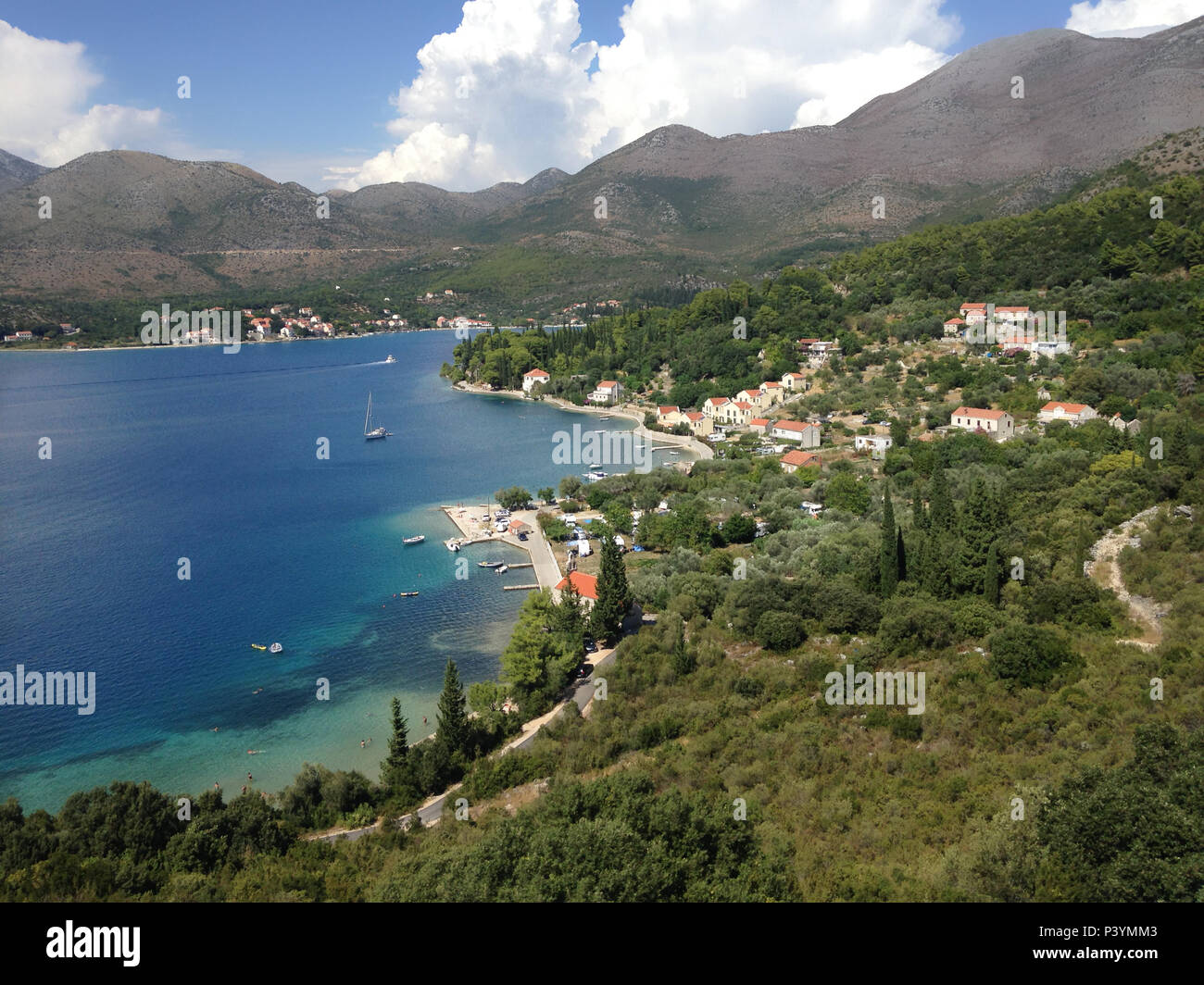 panoramic view of Mediterranean coastal holiday accommodations, Dubrovnik, Dalmatia, Croatia, Europe. Stock Photo