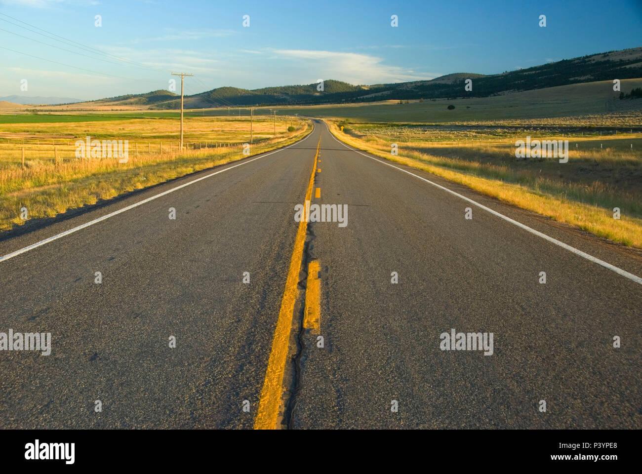 Montana Highway 279, Lewis and Clark County, Montana - Stock Image