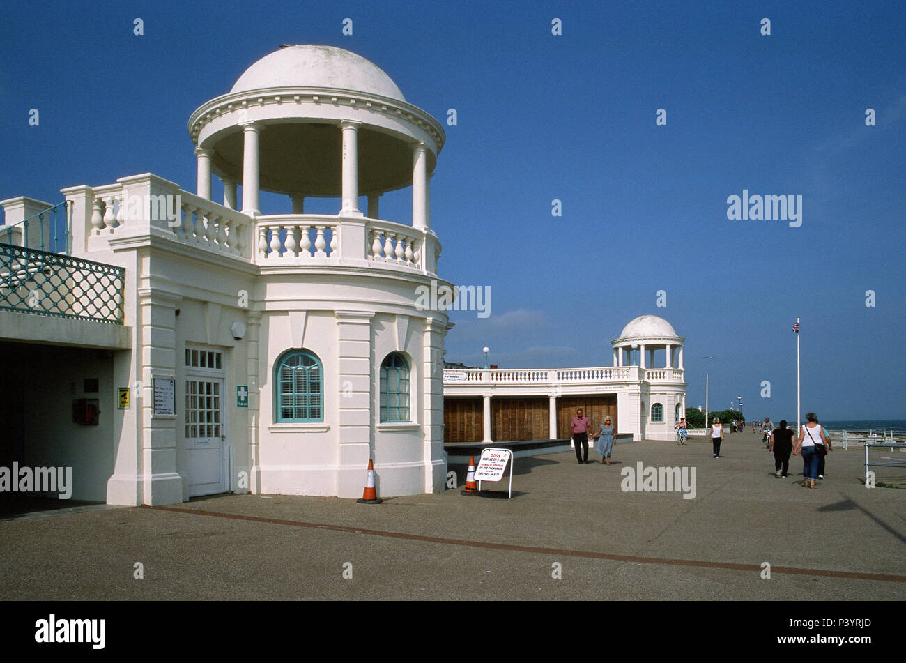 The seafront promenade at Bexhill-On-Sea, East Sussex UK, with cupolas , near the De La Warr Pavillion - Stock Image
