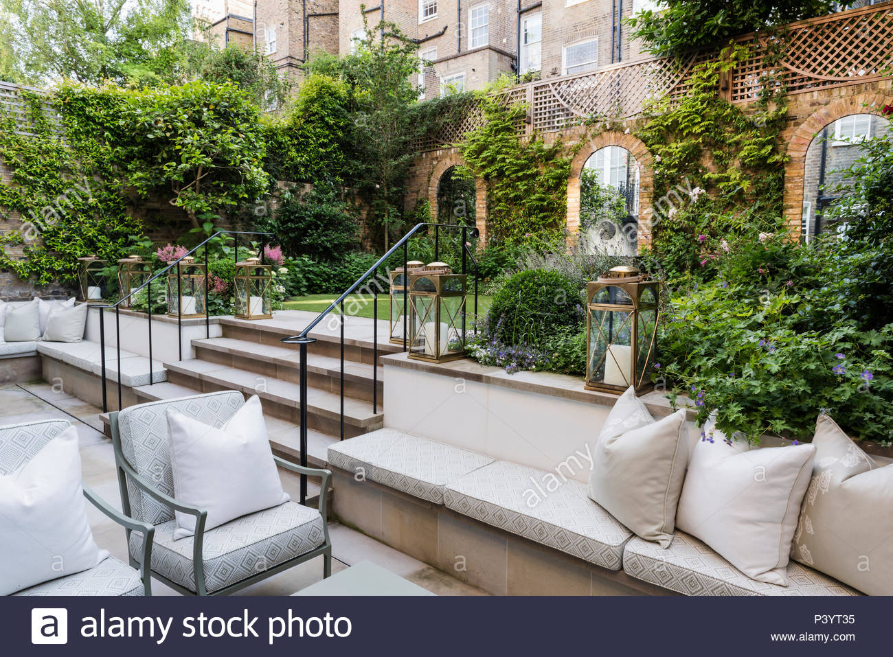 Outdoor Seating In Sunken Patio, Landscaped Garden