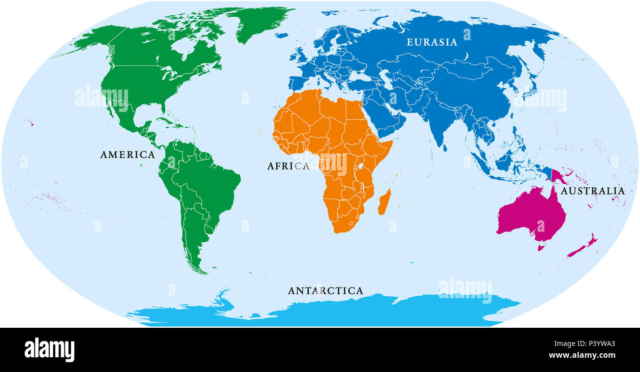 Five continents world, political map. Africa, America, Antarctica, Australia and Eurasia, with shorelines and borders. Robinson projection. - Stock Image