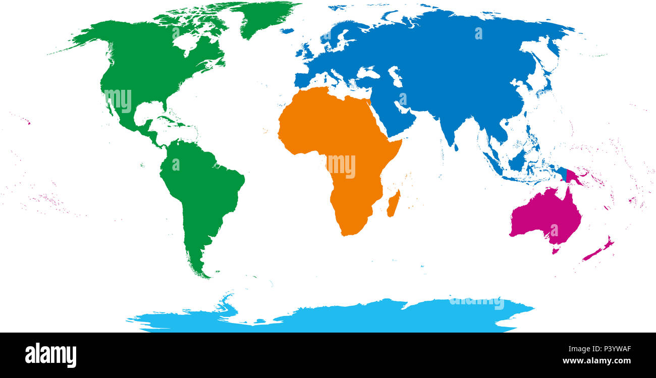 Five continents, world map. Africa, America, Antarctica, Australia and Eurasia. Outline and colored shapes under Robinson projection. - Stock Image