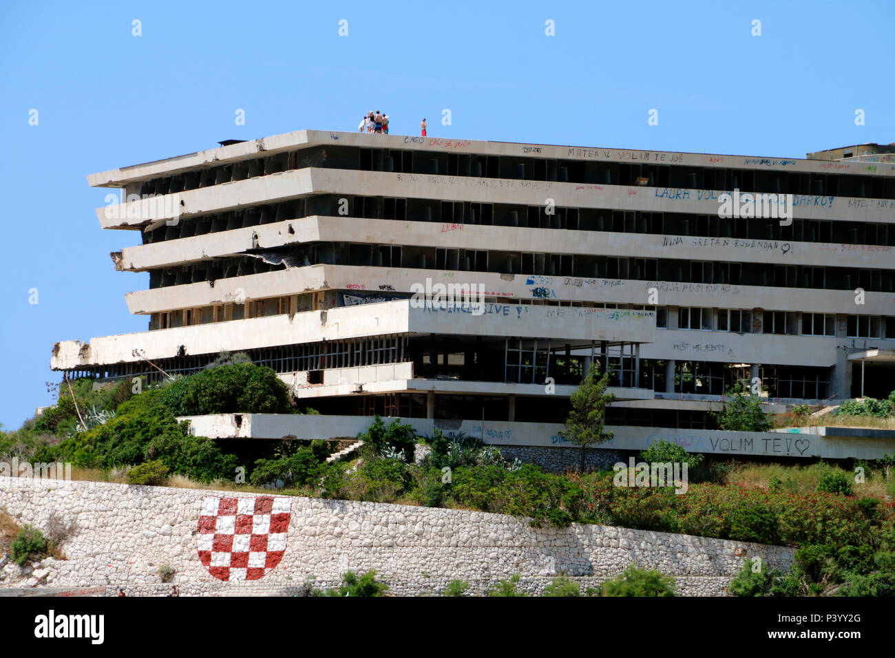 Bombed out and derelict hotels in the resort of Kupari near Dubrovnik in Croatia which were destroyed during the Balkans conflict 1991-1992 Stock Photo