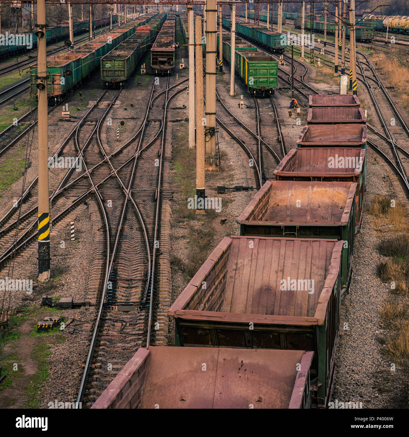 industrial sorting railway station. Processing and enrichment of iron ore. - Stock Image