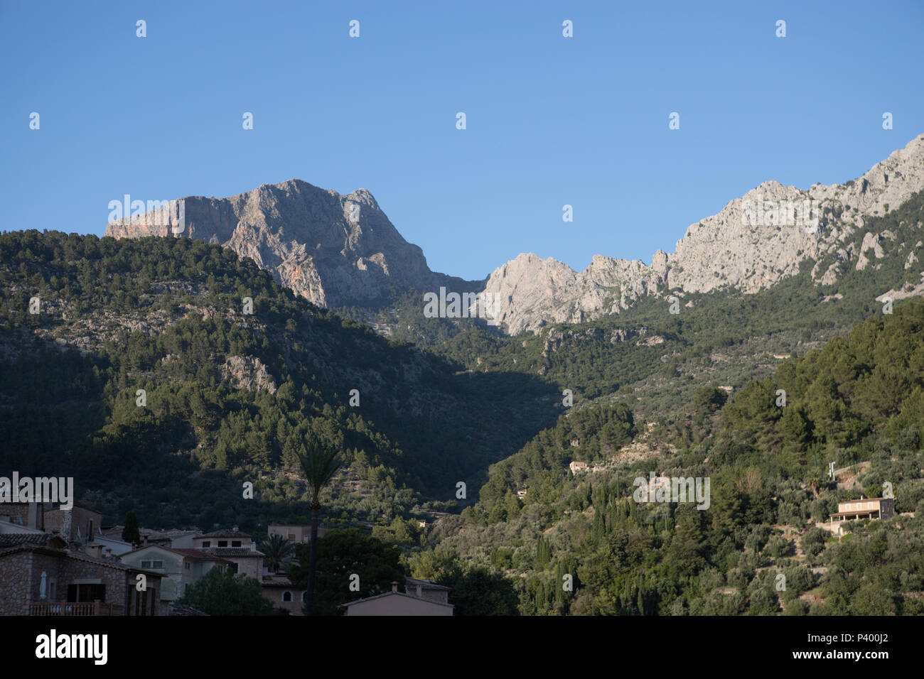 Puig Major mountain peak view from Fornalutx, Mallorca Balearic Spain - Stock Image