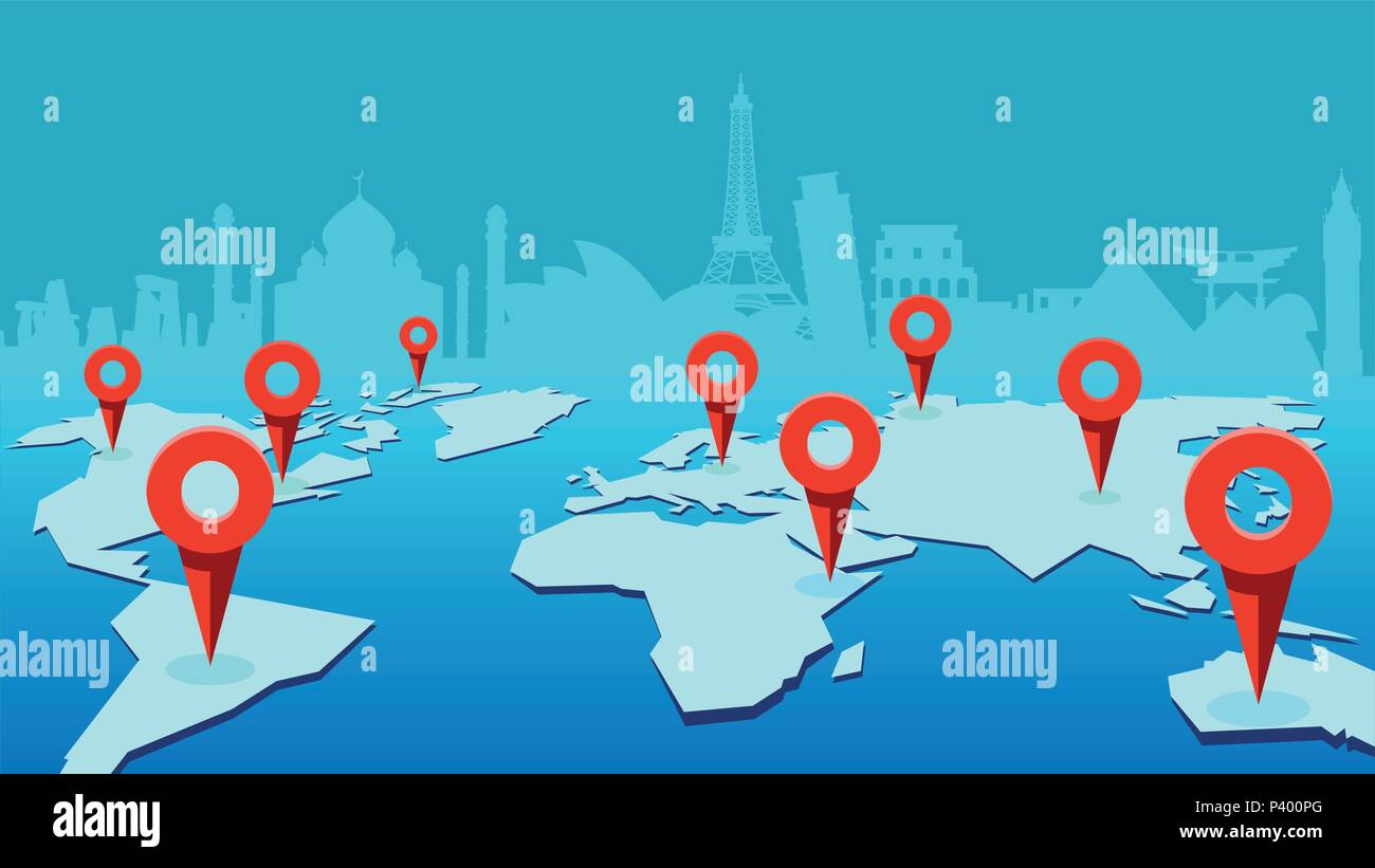 world map with pinpoint marks and landmark buildings on the