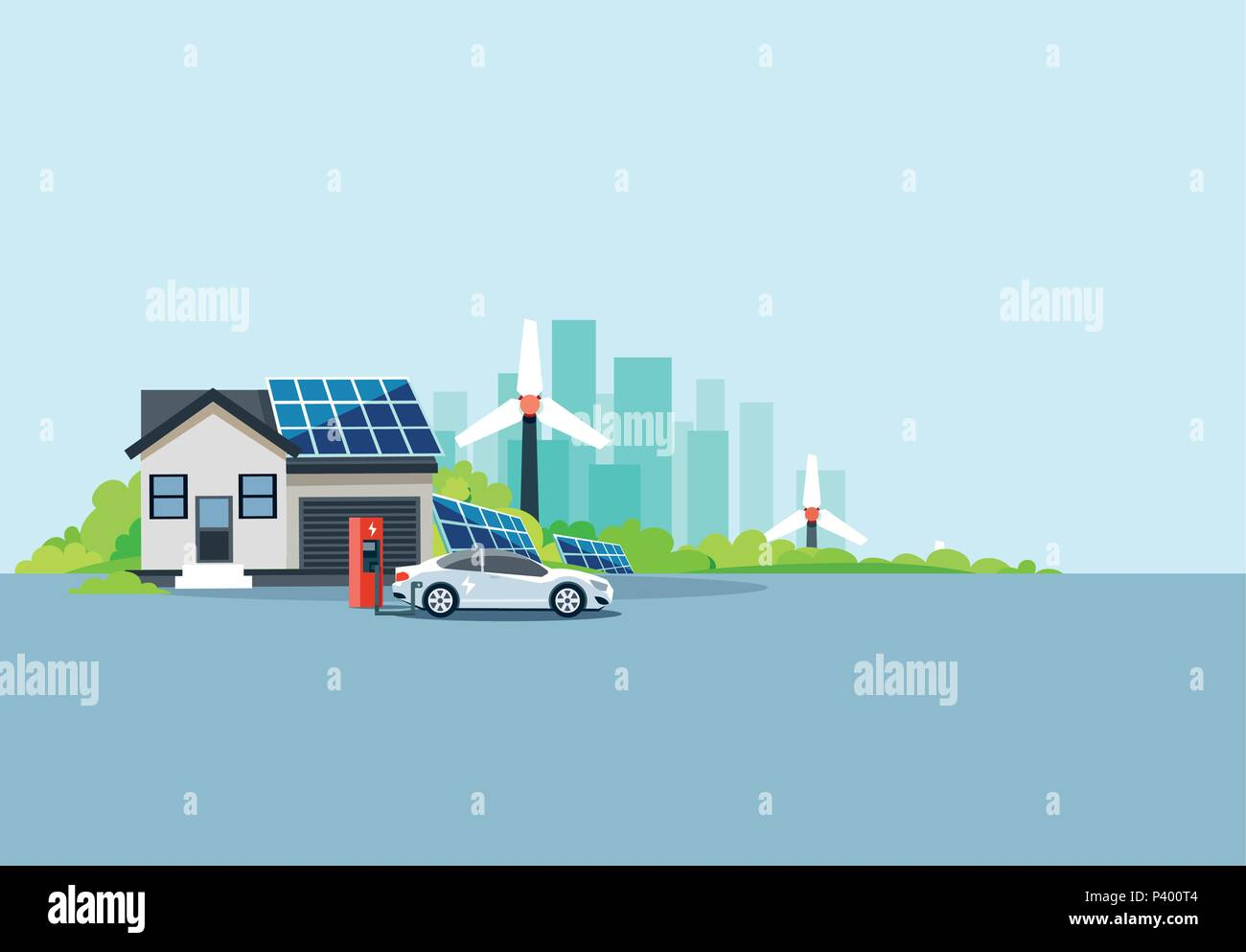 Flat vector illustration of an electric car at charging station parked nearby house with solar panels and wind turbines producing electricity. - Stock Vector