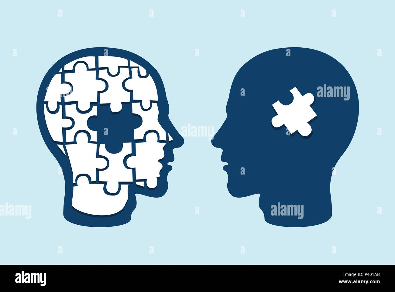Puzzle head brain. Two face profiles against each other with one missing jigsaw piece cut out - Stock Image