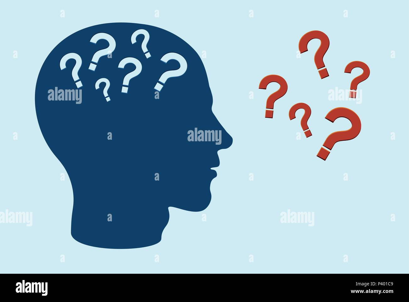 Cognitive function impairment concept. Side profile of human head with question marks - Stock Image