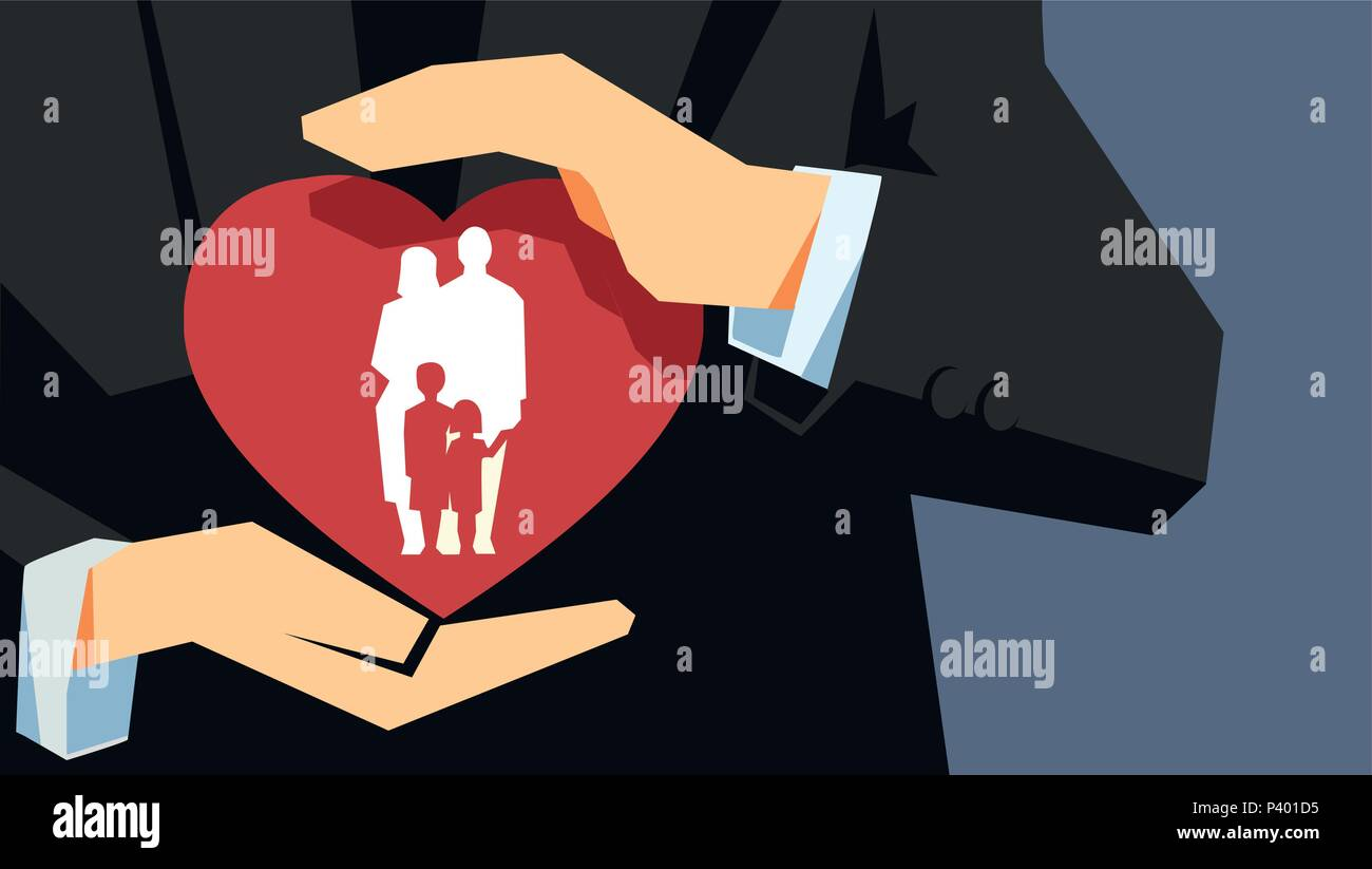Family health and life insurance concept. Two hands holding protecting the heart with family inside. - Stock Vector