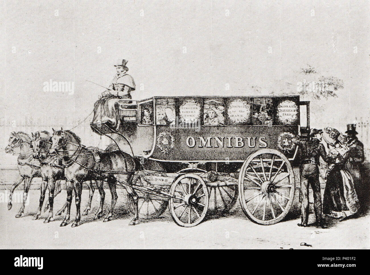 George Shillibeer's first Omnibus, 1829 - Stock Image