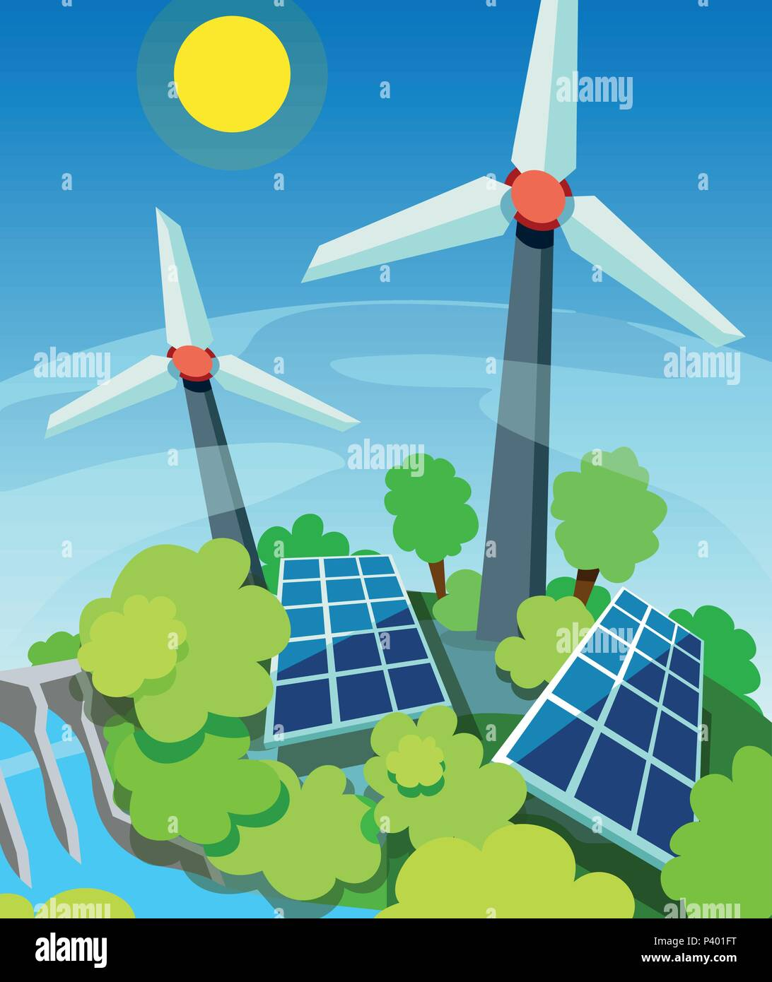 Green energy. Solar panels, wind generators and hydroelectric station. Eco friendly technology concept - Stock Vector