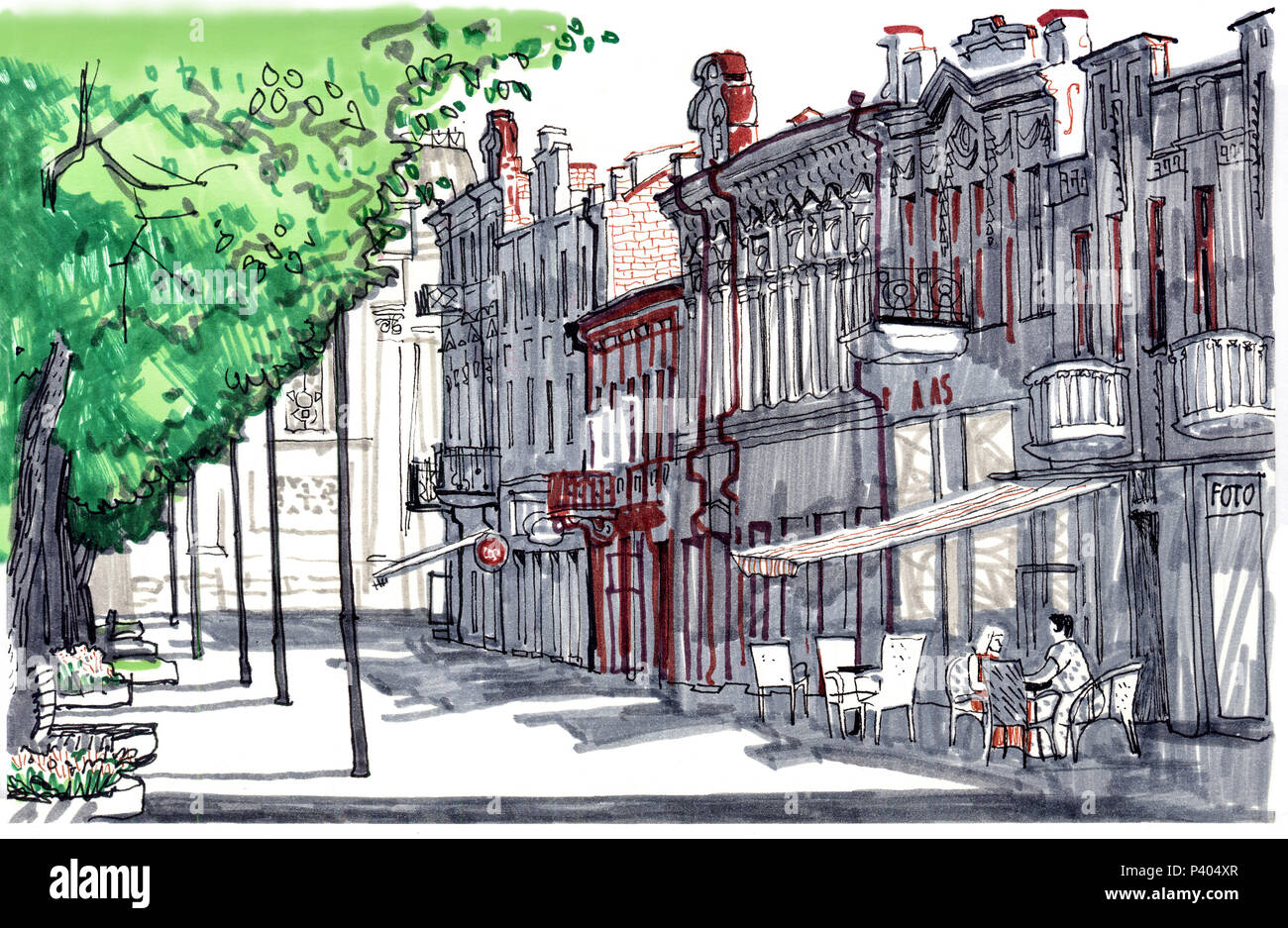 Old town European street. Hand drawn sketch style marker pen illustration. Urban romantic landscape with line of linden trees, cafes, people, old houses, a sunny day. City center of Kaunas, Lithuania. - Stock Image