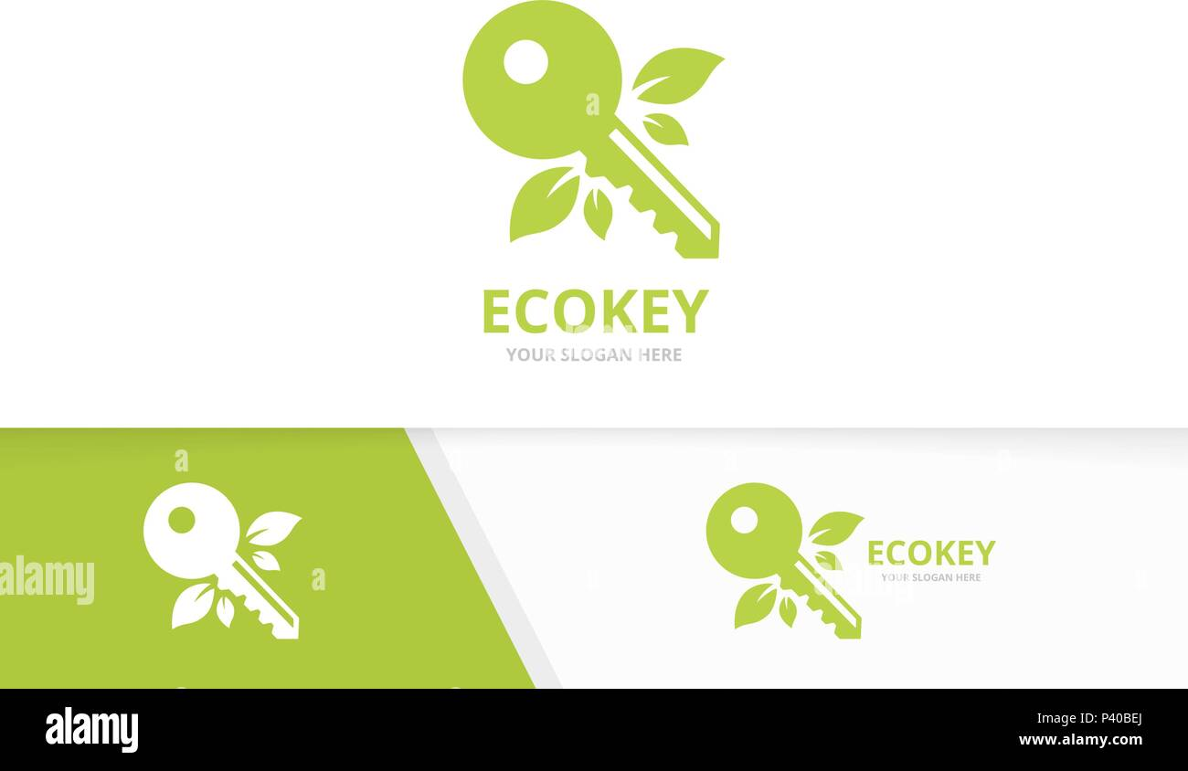 Vector key and leaf logo combination. Lock and eco symbol or icon. Unique house and organic logotype design template. - Stock Image