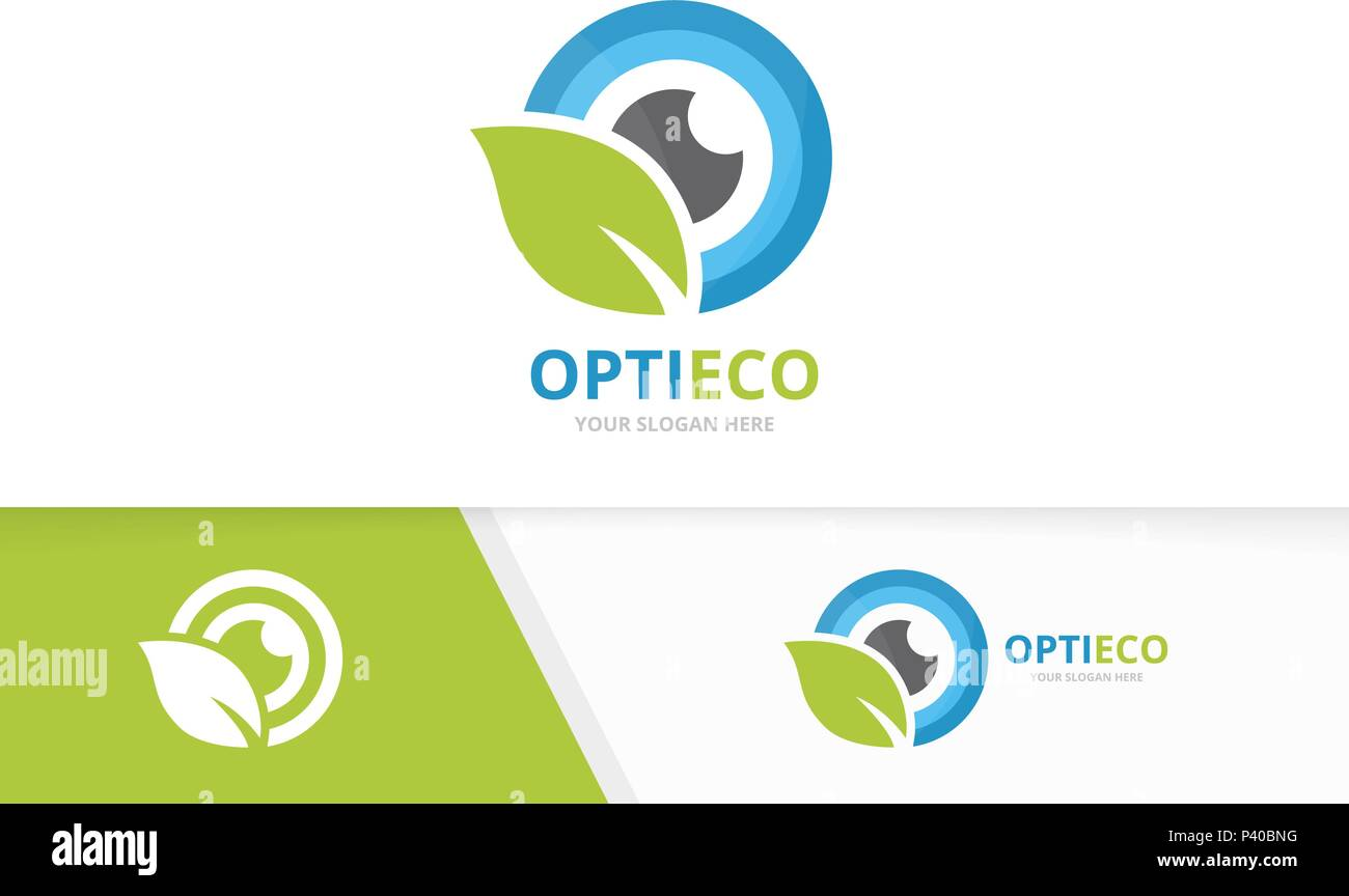 vector eye and leaf logo combination optic and eco symbol or icon