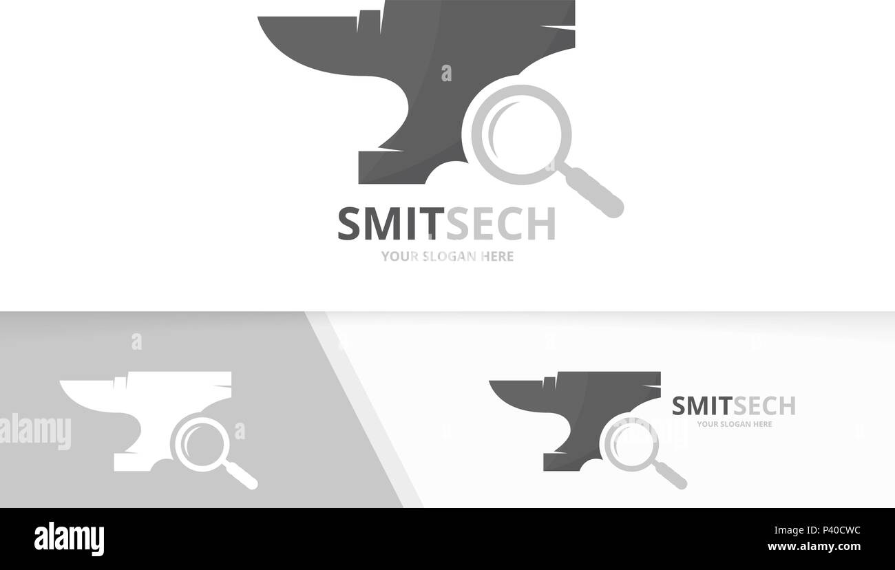 Vector smith and loupe logo combination. Blacksmith and magnifying symbol or icon. Unique metal and search logotype design template. - Stock Image